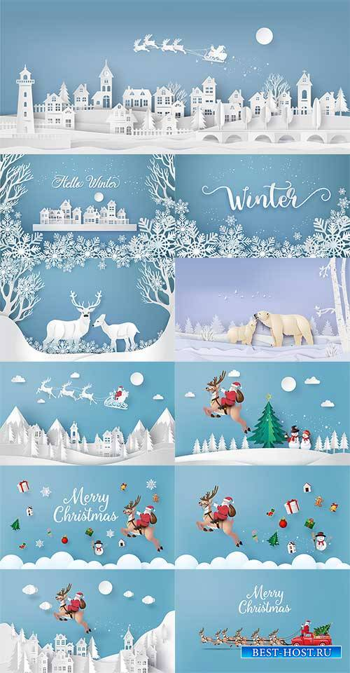 Зимние зарисовки - Векторный клипарт / Winter sketches - Vector Graphics