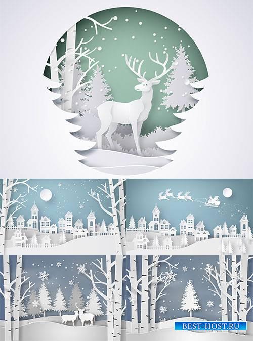 Зимние зарисовки - 3 - Векторный клипарт / Winter sketches - 3 - Vector Gra ...