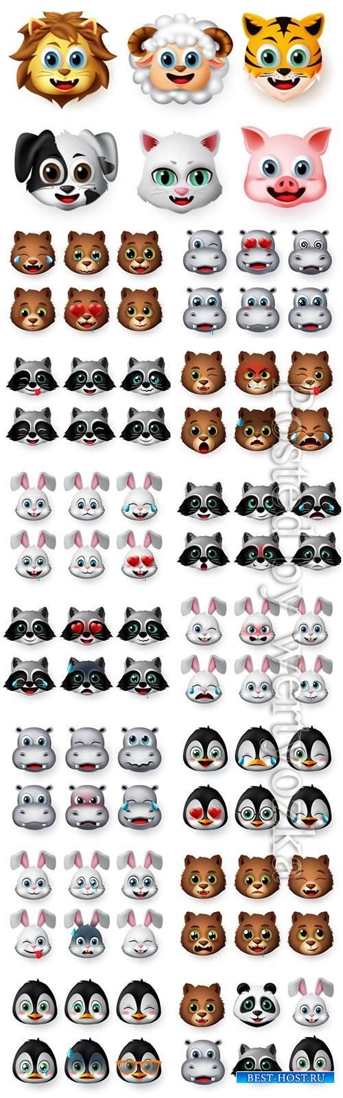 Animals emoji and emoticon happy face vector set