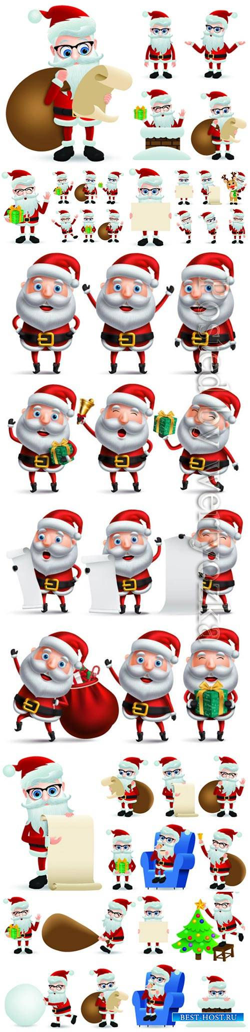 Santa claus vector character showing and holding wish list for christmas gi ...