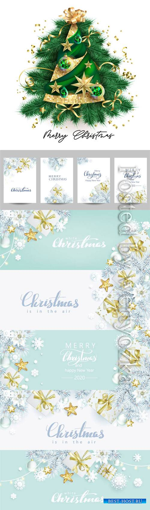 Christmas composition with spruce branches and gift boxes
