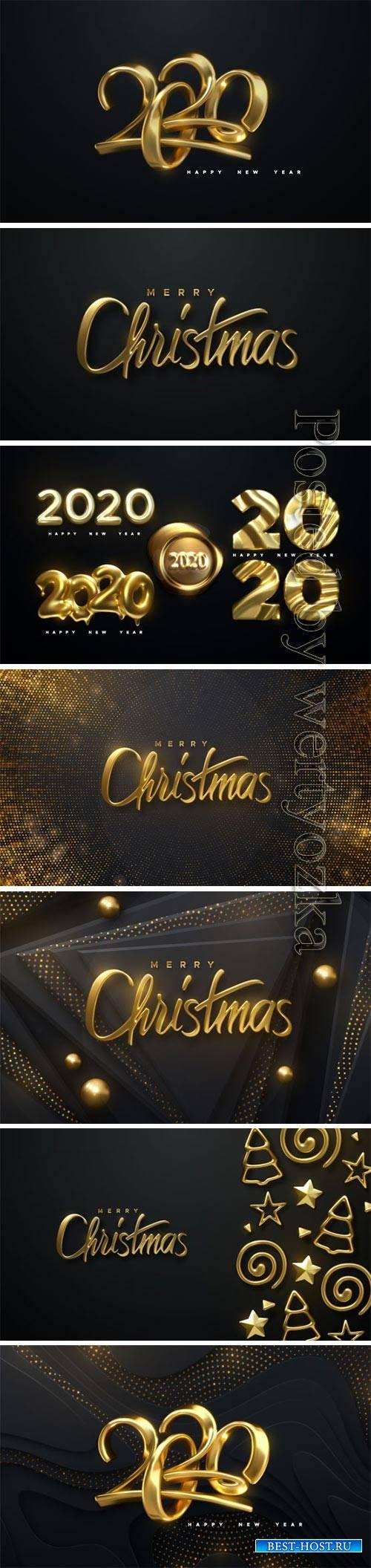 Happy New Year 2020 holiday vector illustration