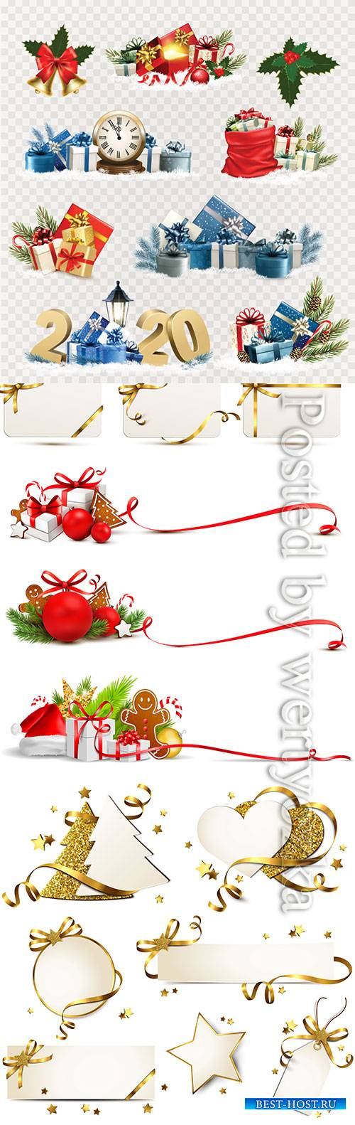 Christmas and New Year holiday elements vector illustration