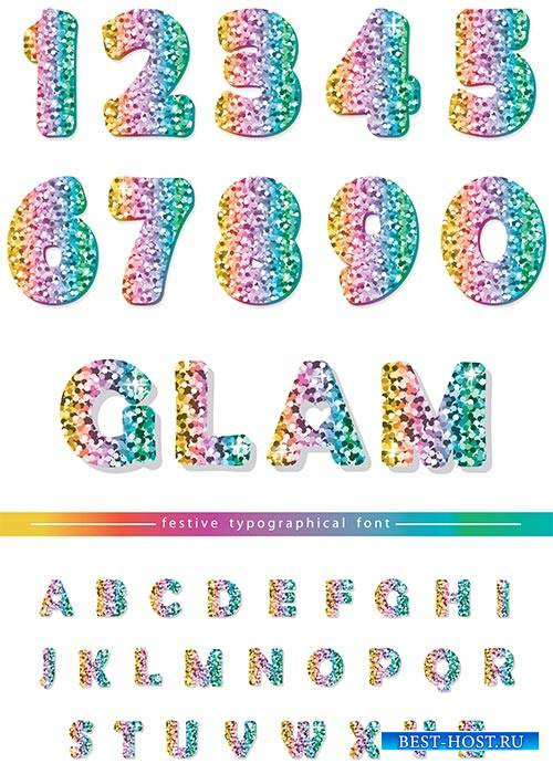 Разноцветные цифры и буквы в векторе / Multicolored numbers and letters in vector