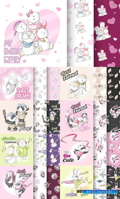 Фоны с забавными животными - Векторный клипарт / Backgrounds with funny ani ...
