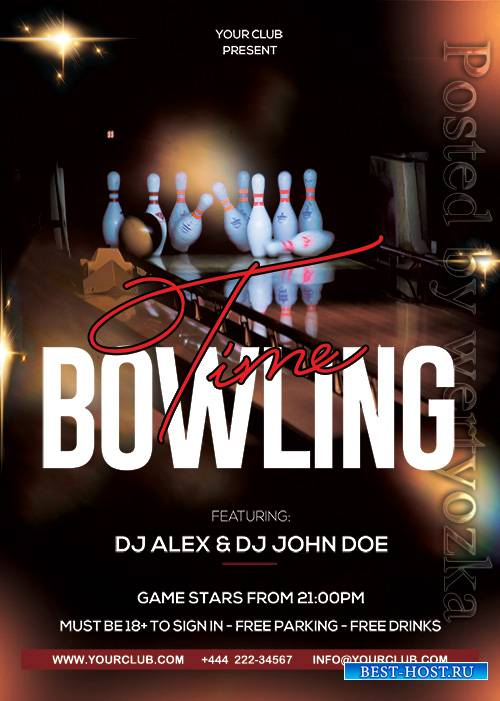 Bowling Time - Premium flyer psd template