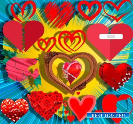 Клипарты для фотошопа - Любовные сердечки