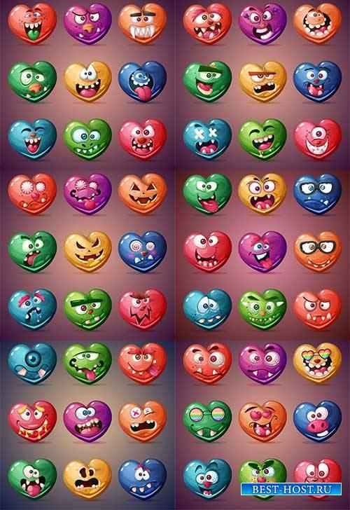 Набор смешных сердец-валентинок - Векторный клипарт / Set of funny valentines hearts - Vector Graphics