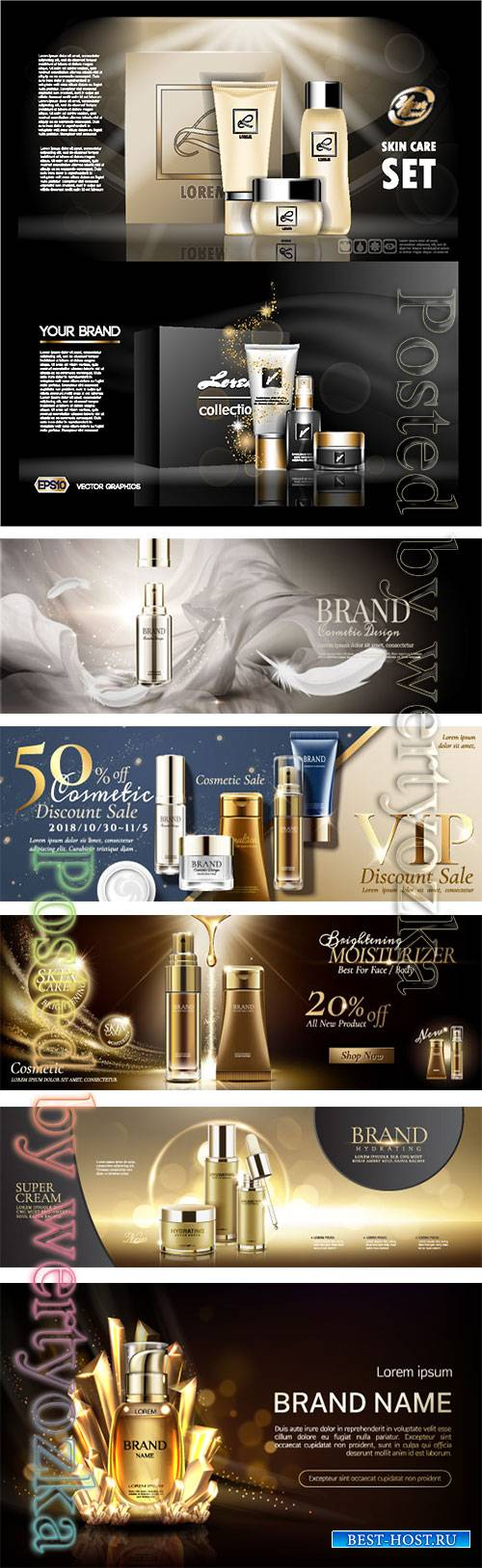 Make up and skincare packaging vector template # 7