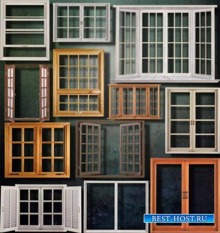 Клипарты для фотошопа - Деревянные окна