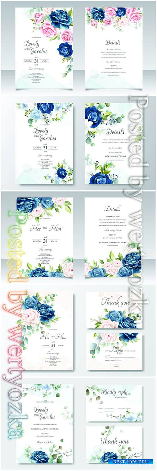 Wedding beautiful floral invitation vector card