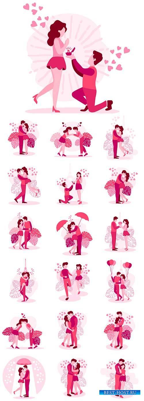 Романтическое свидание - Векторный клипарт / Romantic date - Vector Graphics
