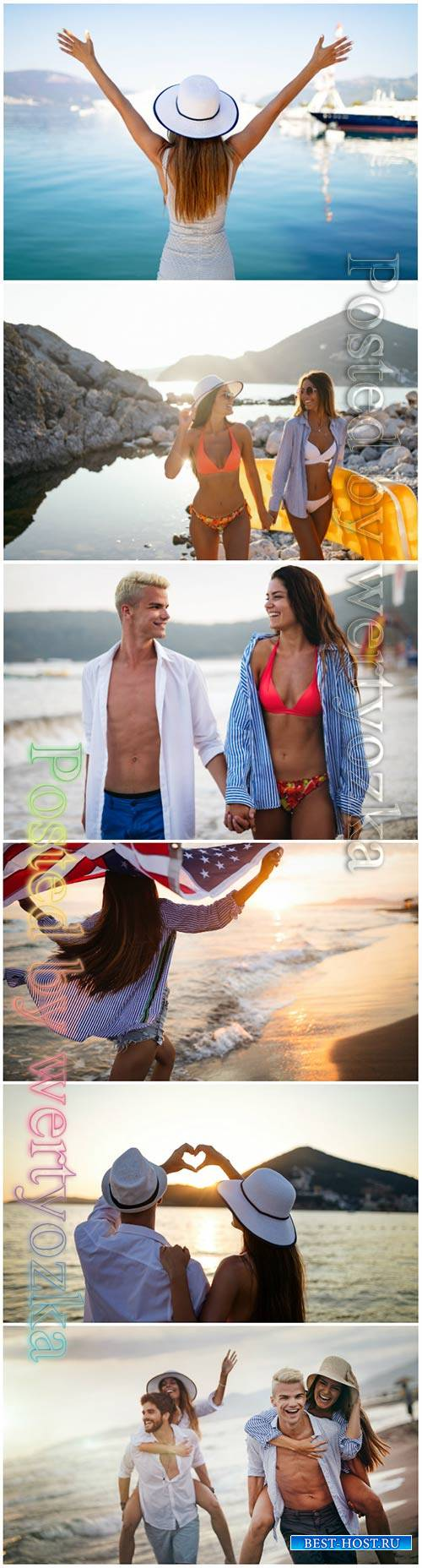 Happy people on vacation beautiful stock photo