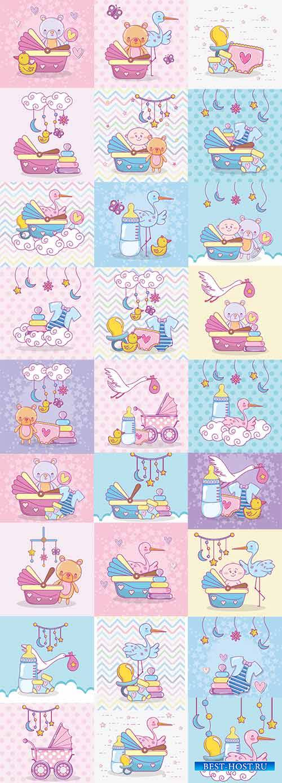 Вещи для младенцев - Векторный клипарт / Things for babies - Vector Graphic ...