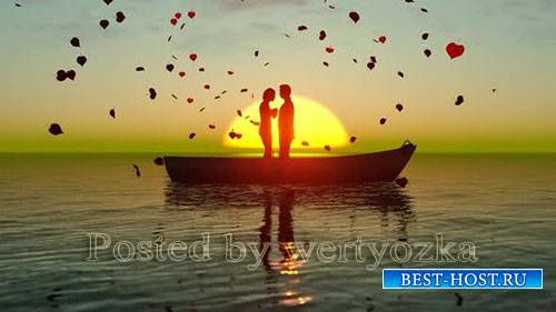 Videohive - Sunset Landscape with Valentines Living Love in Boat -  24472719