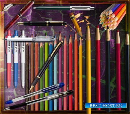 Клипарты для фотошопа - Цветные карандаши и ручки