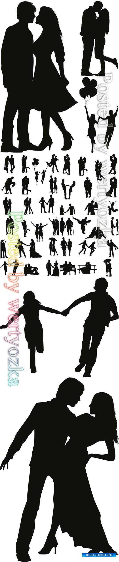 Romantic couple vector silhouette
