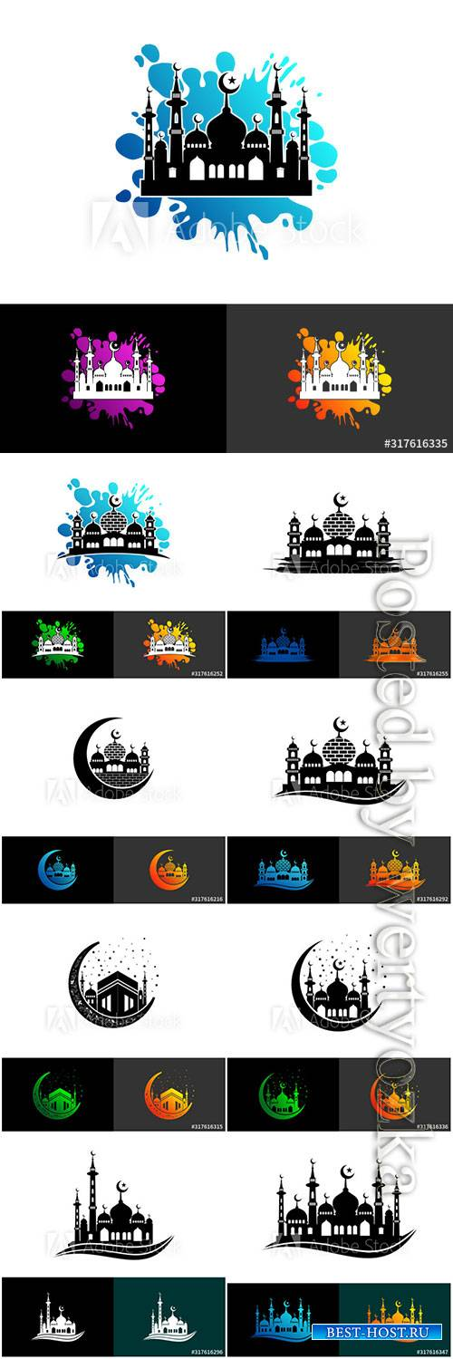 Mosque logo symbol or icon template design vector