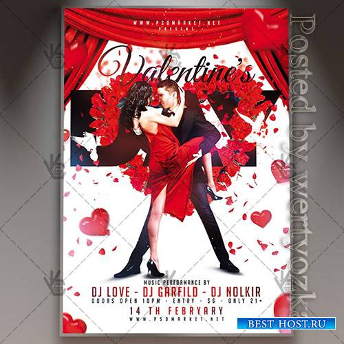 Valentines day party - Premium flyer psd template