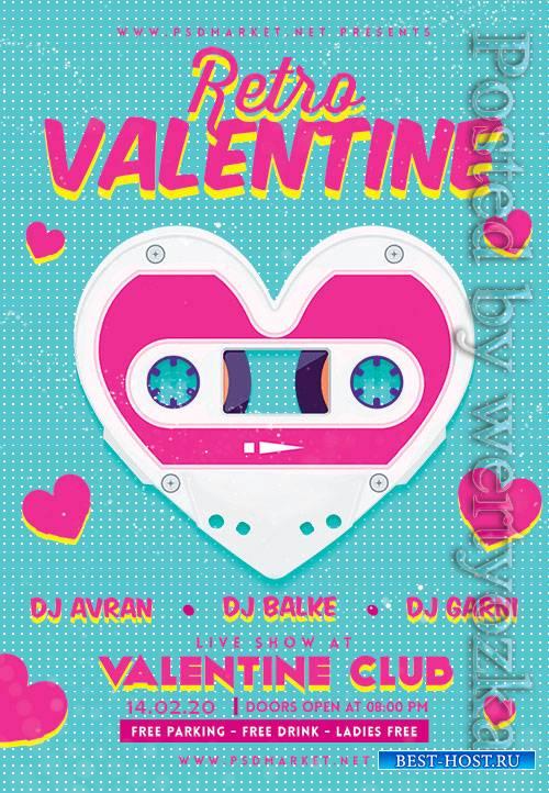 Retro valentine - Premium flyer psd template