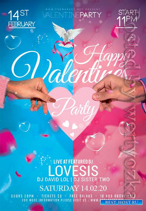 Happy valentines event - Premium flyer psd template