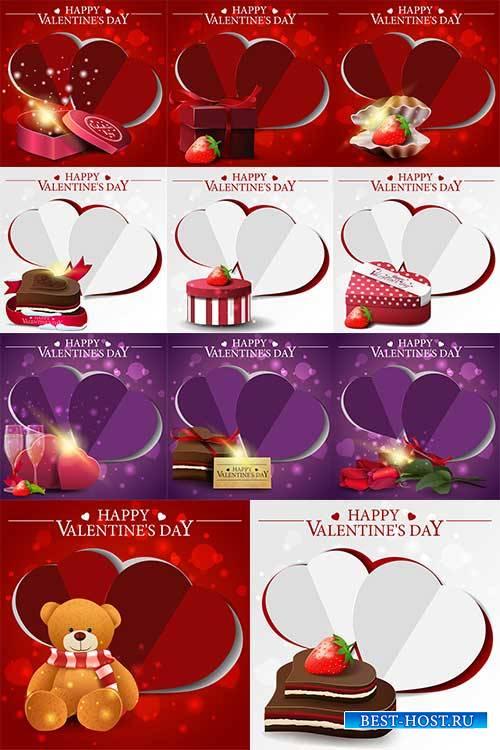 Фоны для поздравлений ко Дню Влюблённых в векторе / Backgrounds for congrat ...