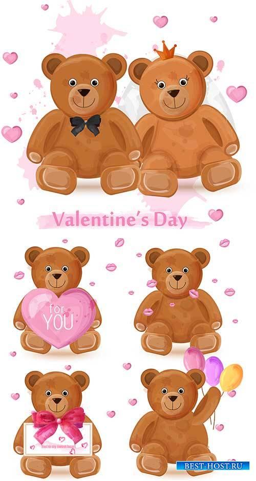 Влюблённые мишки - Векторный клипарт / Bears in love - Vector Graphics