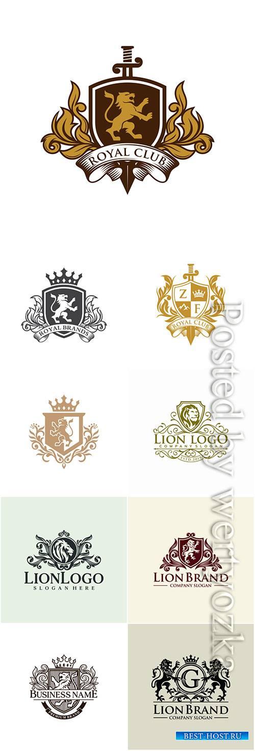Lion heraldry logo design Inspiration