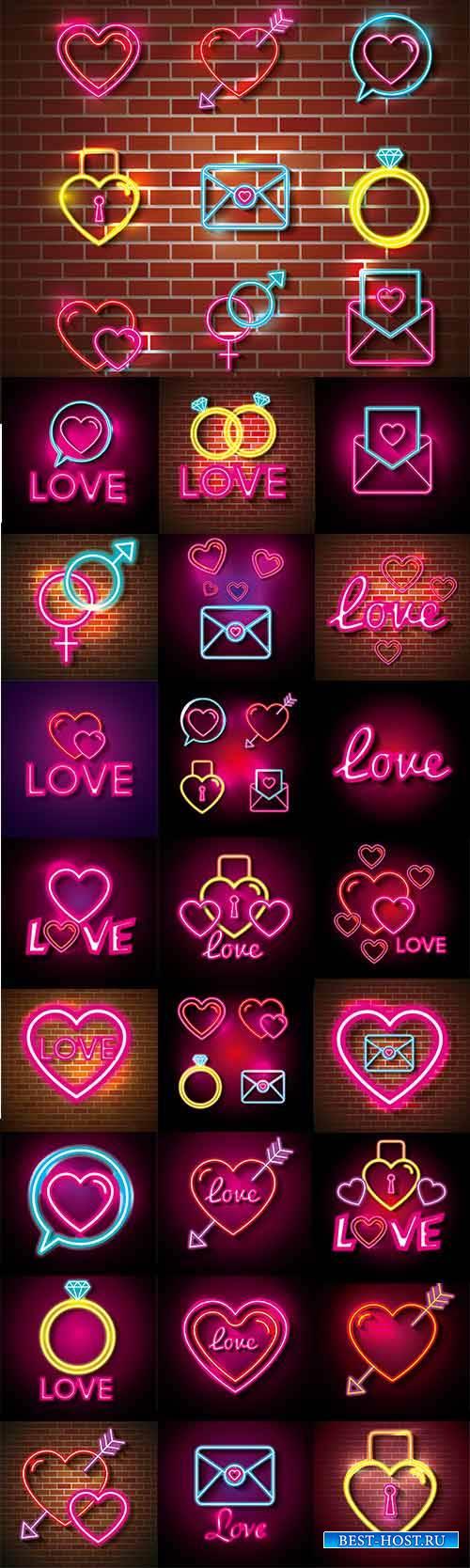 Неоновые иконки для влюблённых в векторе / Neon icons for lovers in vector