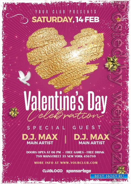 Valentines Day Celebration2 - Premium flyer psd template