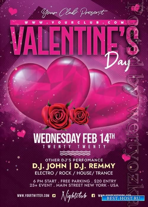 Valentines Day Celebration - Premium flyer psd template