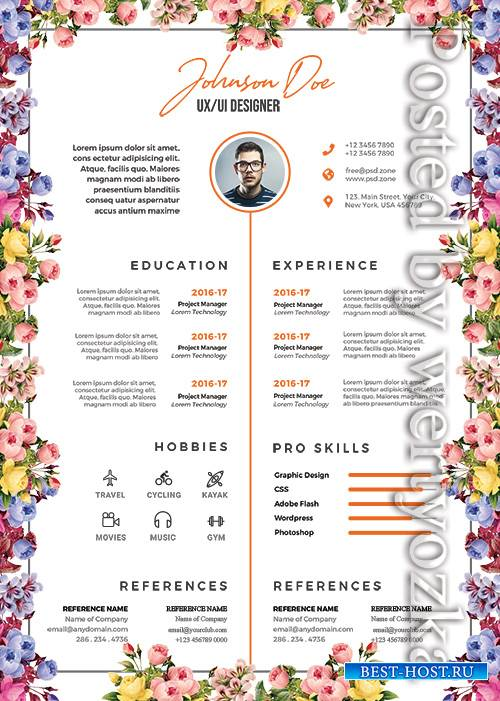 Beautiful Resume Design - Premium flyer psd template