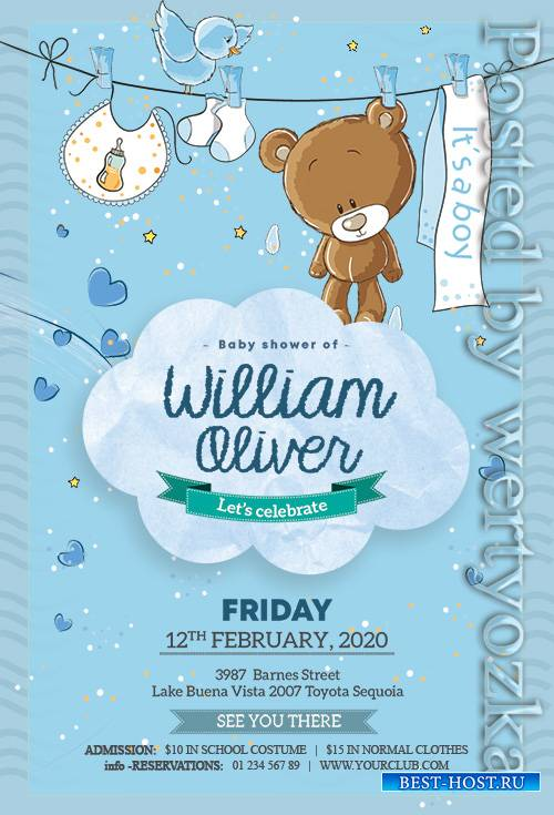 Baby Boy Birthday - Premium flyer psd template