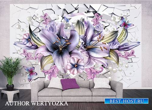 Lilies background wall decors, 3D models template PSD