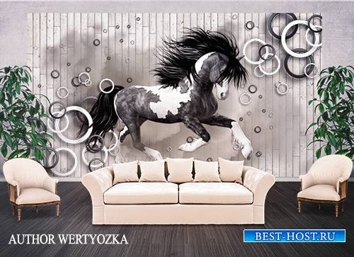 Horse background wall decors, 3D models template PSD