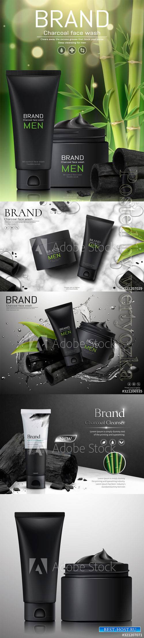 Charcoal men face wash ads