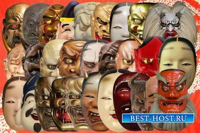 Клипарт Японские маски театральные, демонов, божественных существ Часть 2