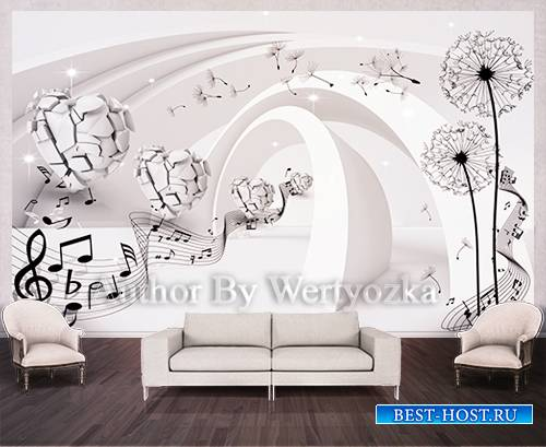 Dandelions and hearts background wall decors, 3D models template PSD