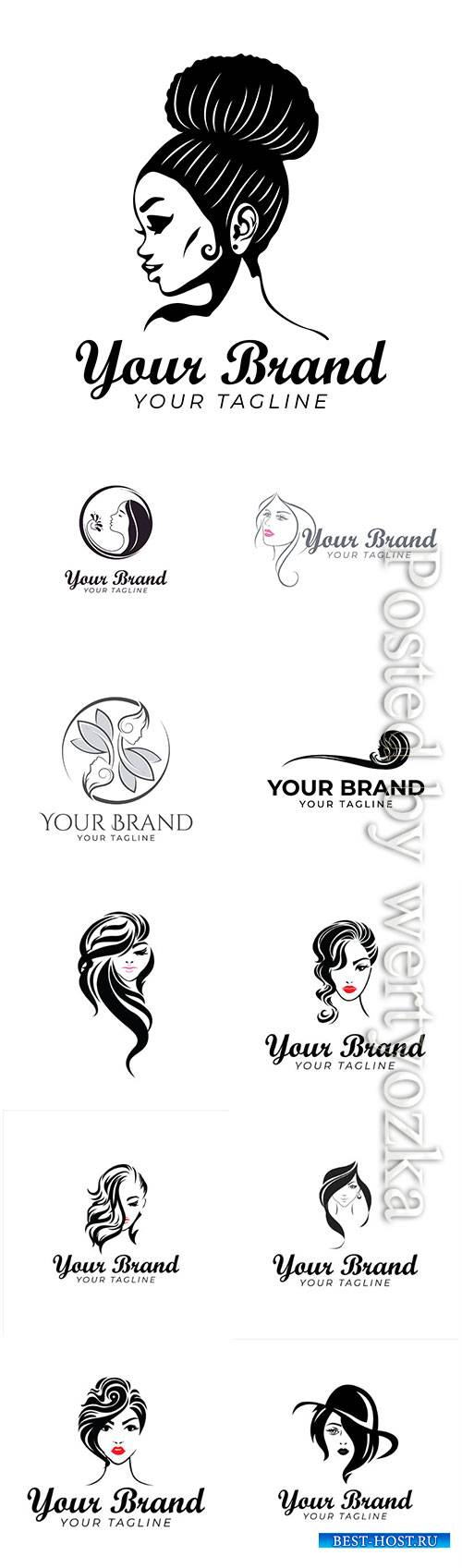 Beautiful logo template of woman and hair
