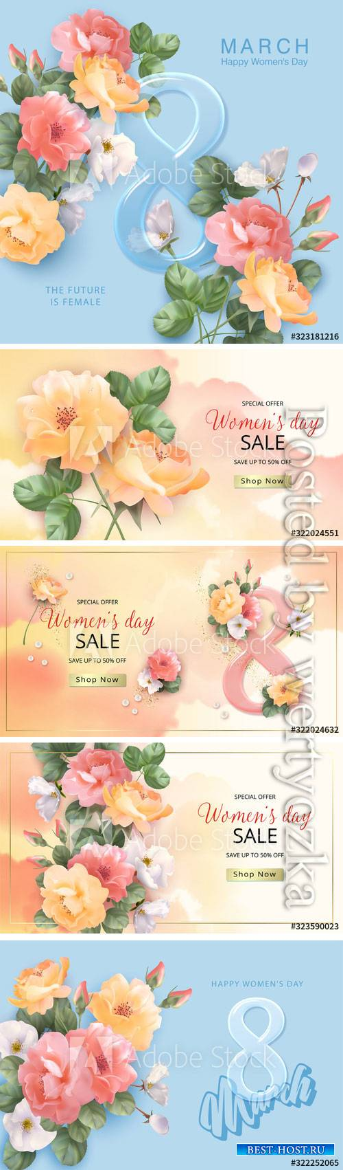 Vector banner March 8, floral background