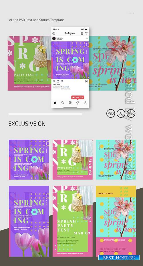 Spring banner - Premium flyer psd template