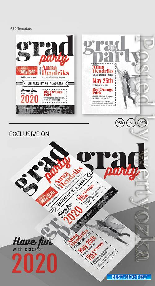 Graduation invitation - Premium flyer psd template