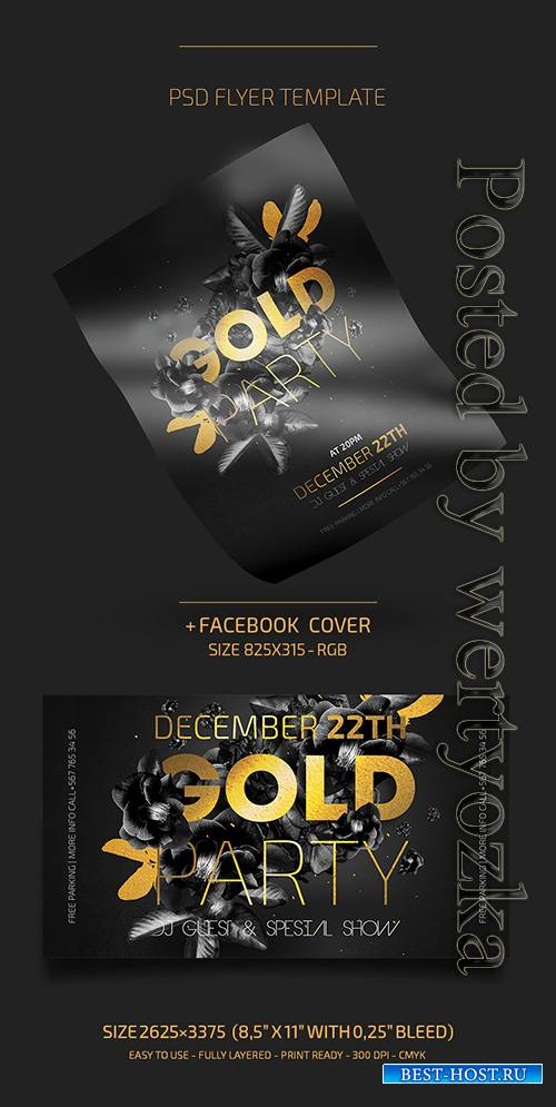 Gold Night Party - Premium flyer psd template