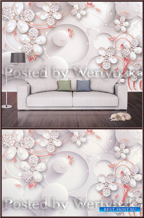 3D background wall flowers with jewelry