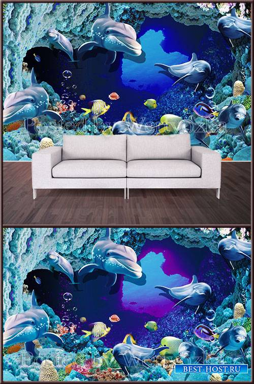 3D psd background wall dolphins and fish