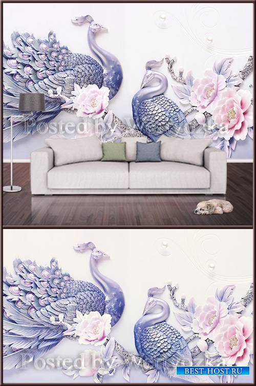 3D psd background wall peacocks and flowers
