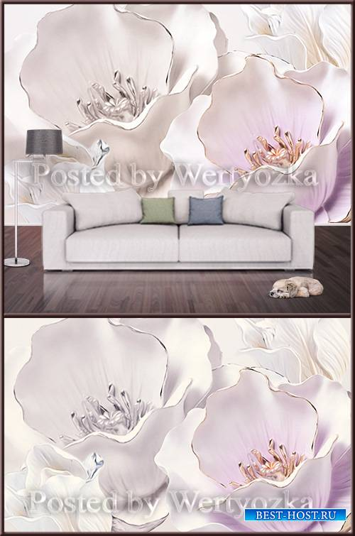 3D psd background wall embossed stereo flower