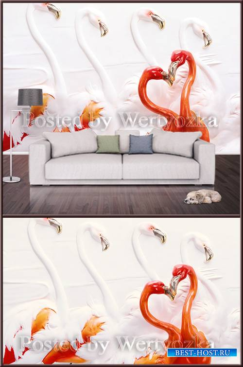 3D psd background wall flamingo