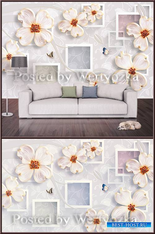 3D psd background wall flowers and butterflies