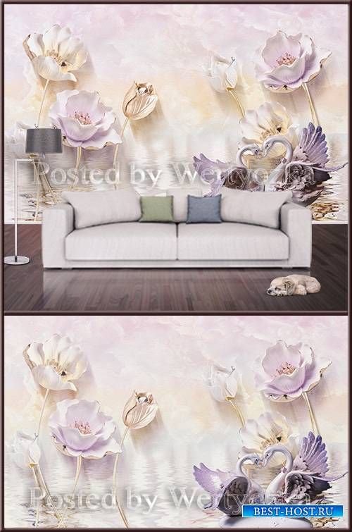 3D psd background wall swan and lotus